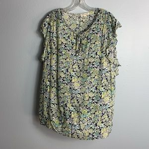 FLOWING ARTISAN NY S/S FLORAL PRINT BLOUSE SIZE 1X